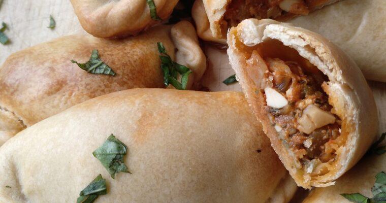 Vegetarian empanada with mushrooms
